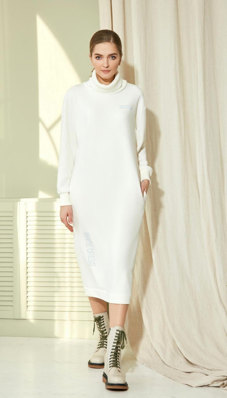 Платье Gizart-7423-1 белорусский трикотаж, молочный, 42