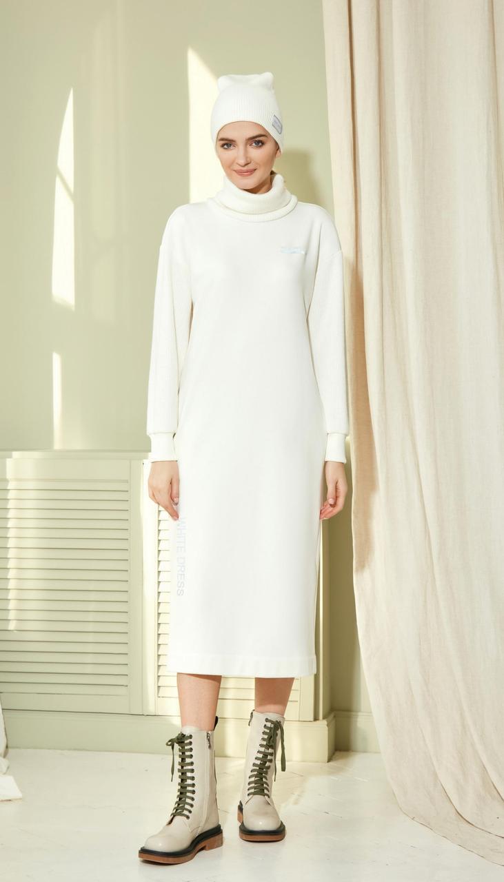 Платье Gizart-7423 белорусский трикотаж, молочный, 42