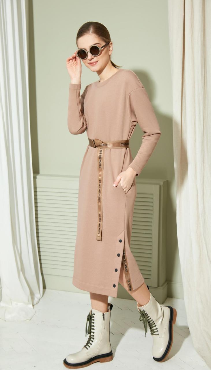 Сукня Gizart-2132 білоруський трикотаж, бежевий, 50
