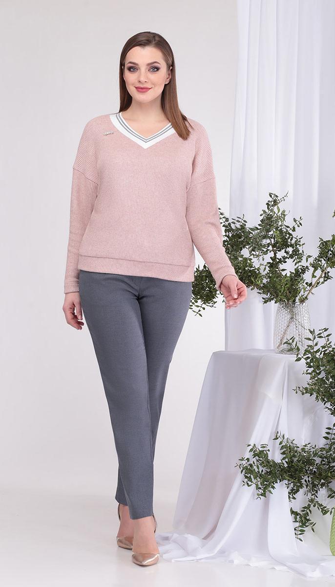 Костюм КаринаДелюкс-В-384 белорусский трикотаж, розовый+серый, 50