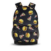 Крутой рюкзак с принтом Бургер. Для путешествий, тренировок, учебы