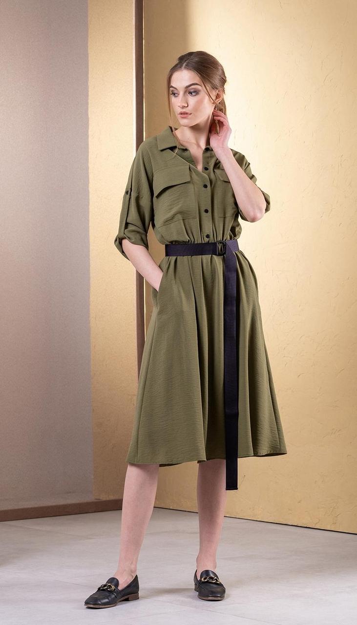 Платье Deesses-1054 белорусский трикотаж, хаки, 44