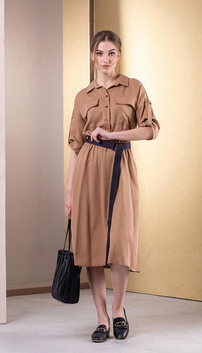 Сукня Deesses-1054/1 білоруський трикотаж, бежевий, 44