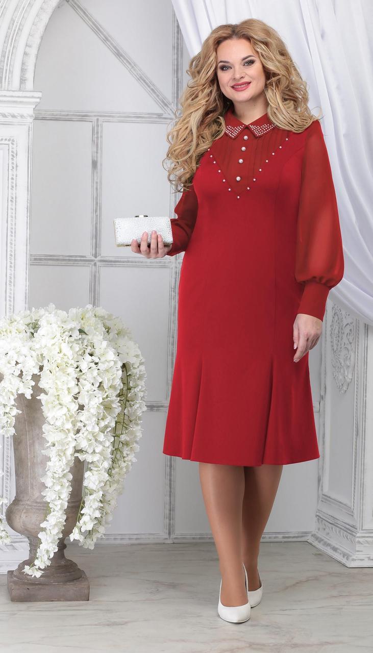 Платье Ninele-2280/2 белорусский трикотаж, красный, 48