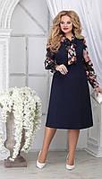 Платье Ninele-2281 белорусский трикотаж, темно-синий + цветы, 48