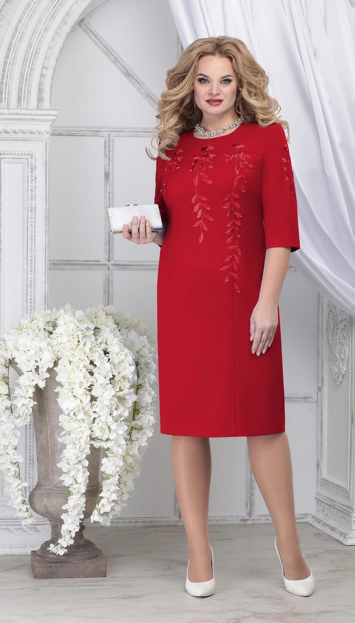 Платье Ninele-7310/2 белорусский трикотаж, красный, 48