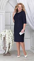 Платье Ninele-7310/4 белорусский трикотаж, темно-синий, 48