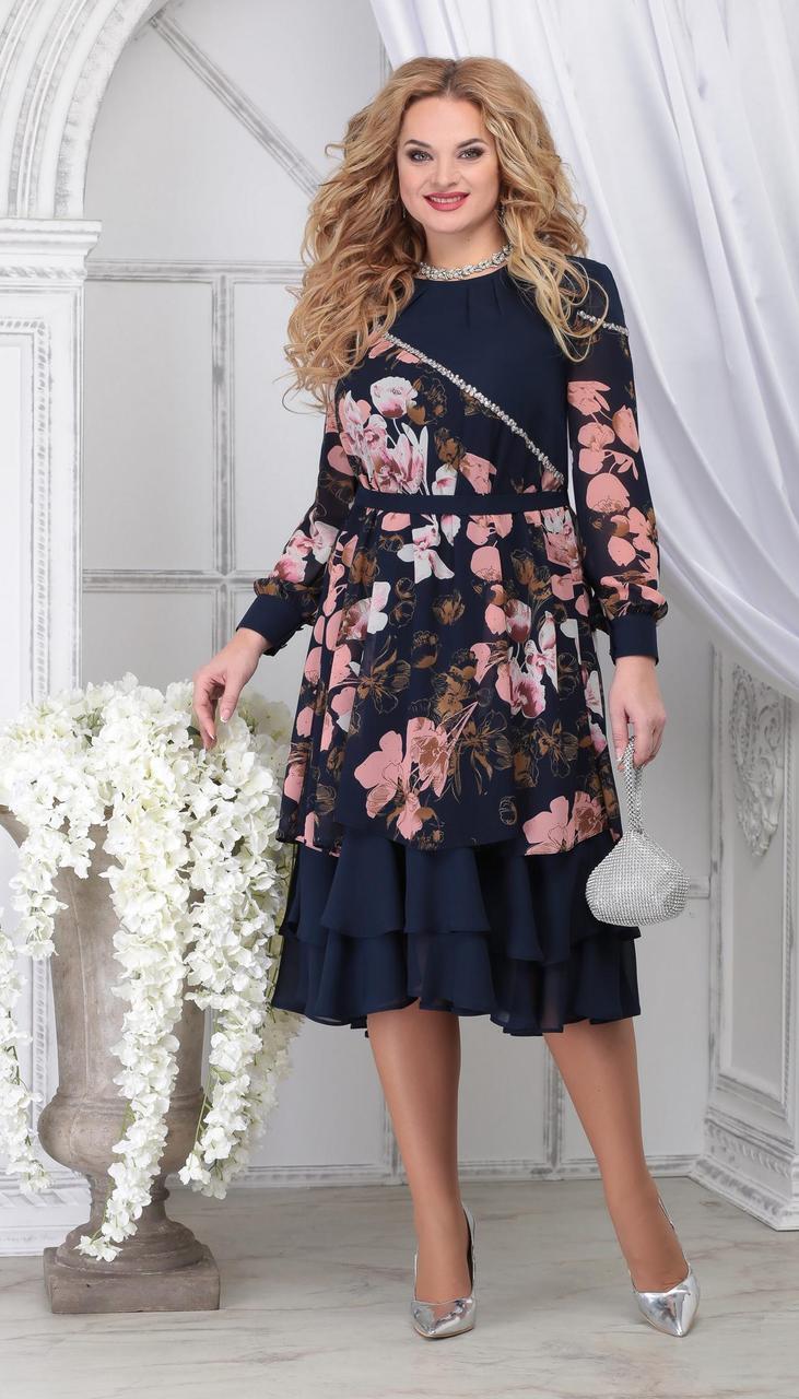 Платье Ninele-7311 белорусский трикотаж, цветы на темно-синем, 48