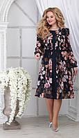 Сукня Ninele-7313 білоруський трикотаж, квіти на темно-синьому, 48