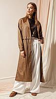 Плащ Nova Line-10139 белорусский трикотаж, коричневый, 42, фото 1