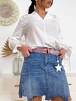 Джинсовая мини юбка с рваным низом