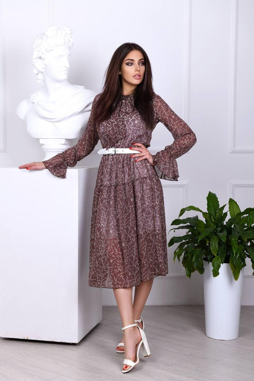Сукня легка міді в квітковий принт АМ2775