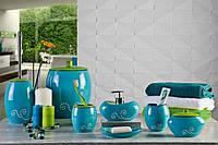 Набор аксессуаров для ванной из 6 предметов синего цвета