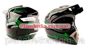 Шлем MD-905 Virtue кросс черный с зеленым глянец