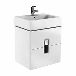 TWINS шкафчик под умывальник 60см, с двумя ящиками, белый глянец (пол.)