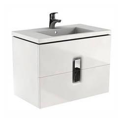 TWINS шкафчик под умывальник 80см, с двумя ящиками, белый глянец (пол.)