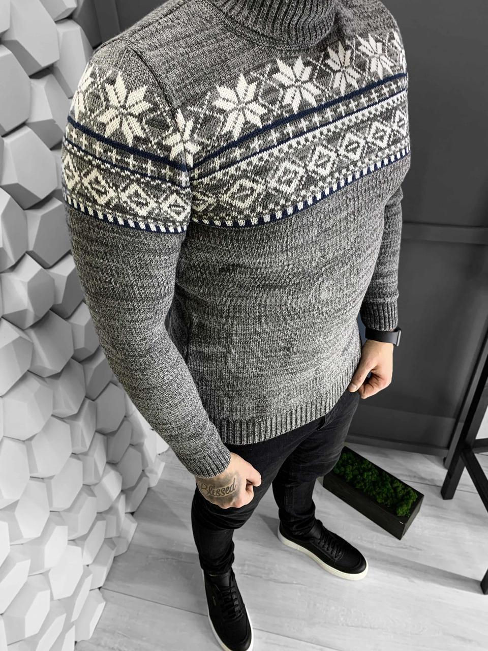 Мужской свитер светло серый с принтом Турция