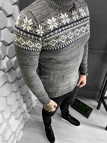 Мужской свитер светло серый с принтом Турция, фото 2