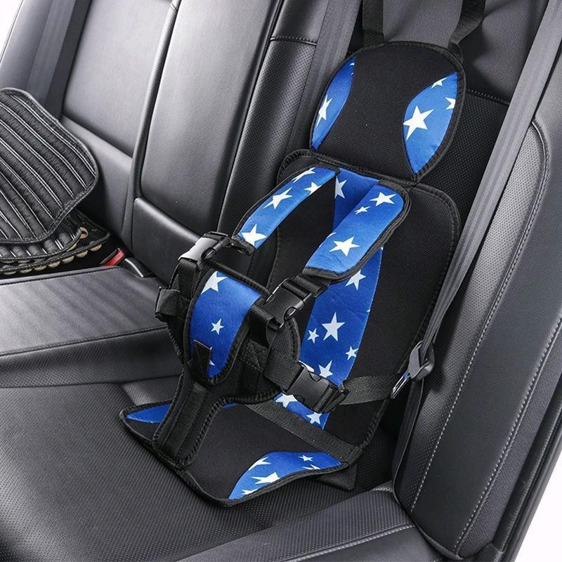 Портативное бескаркасное детское автокресло синее звёзды