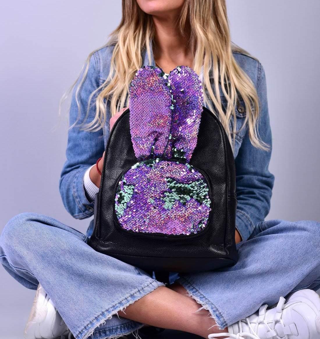 Женский черный рюкзак с ушками код 7-809