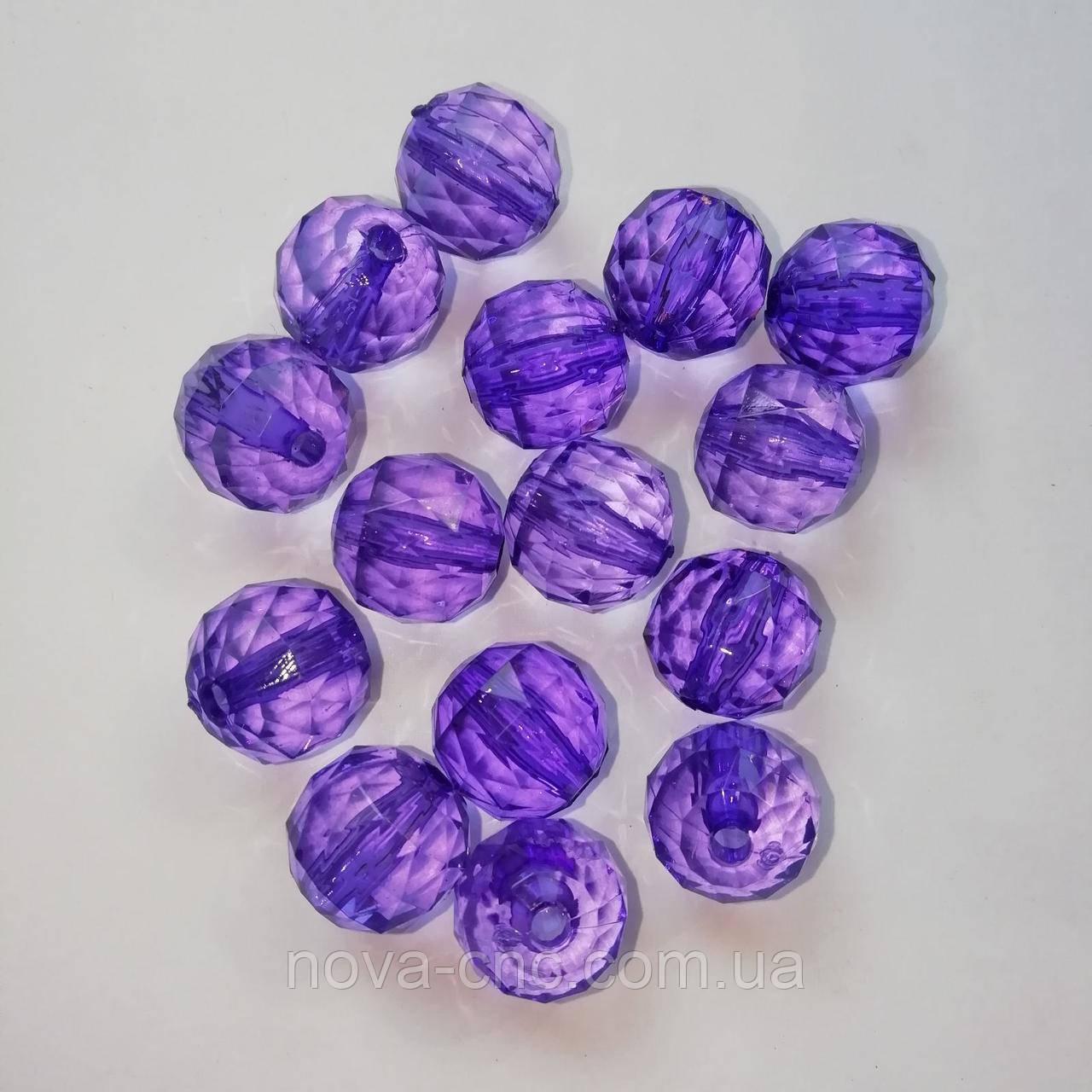 """Намистини акрил """"Куля трикутна грань"""" фіолетовий 15 мм 500 грам"""
