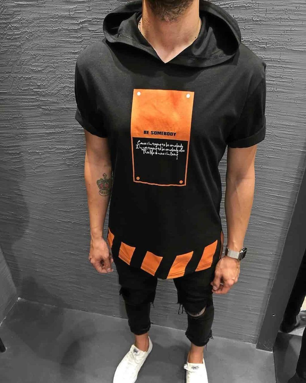 Чоловіча футболка чорна з помаранчевим принтом і капюшоном Туреччина