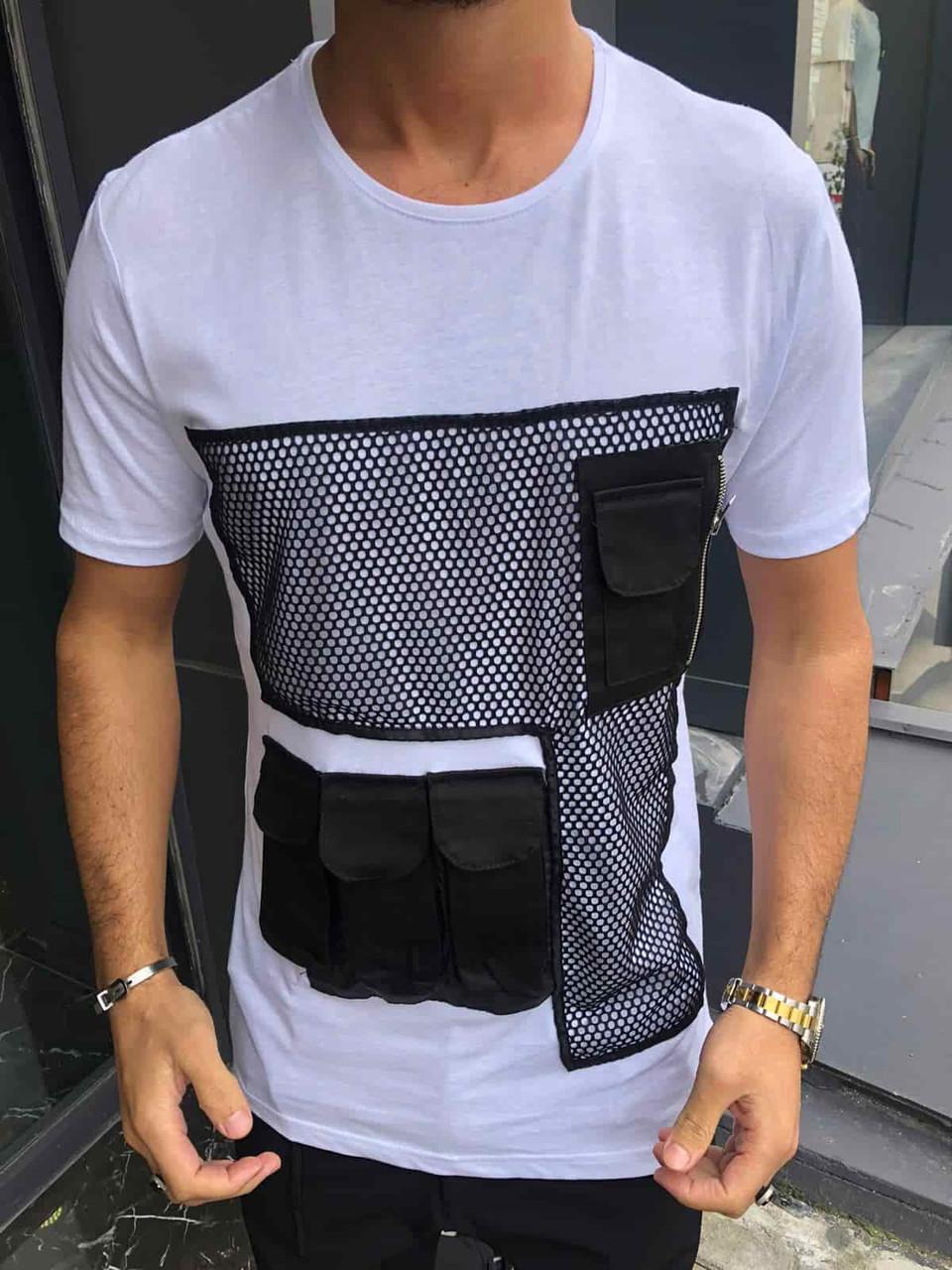 Мужская белая футболка с сеткой и карманами, Турция