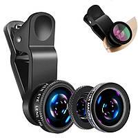 Объектив линза для смартфона 3в1 4sport (широкоугольный, макро, рыбий глаз/fish eye)