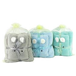 Набор подарочных полотенец детских с ушками микрофибра 140х70 см 35х70 см