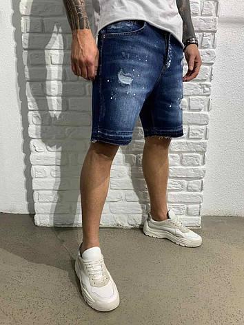 Мужские синие джинсовые свободные шорты с потертостями, Турция, фото 2