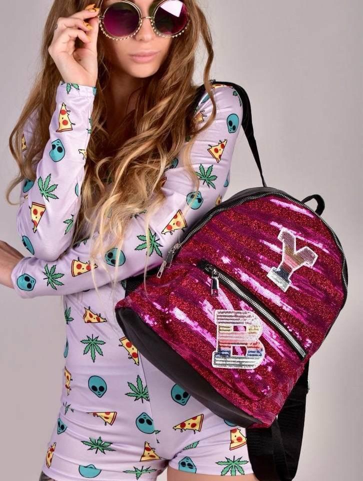Малиновий жіночий рюкзак з паєтками код 7-805