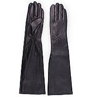 Женские перчатки (кожаные, черные, зимние, на флисе, длинные)