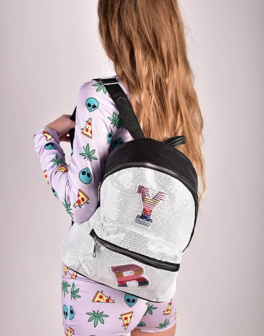 Белый женский рюкзак с пайетками код 7-805