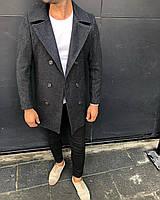 Пальто мужское серое демисезонное стильное Турция