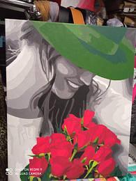 Картина по номерам Девушка в зеленной шляпе.jpg