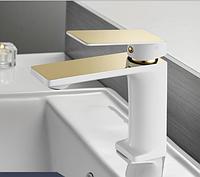 Смеситель для умывальника однорычажный кран латунь WanFan для ванны Белый с Золотым