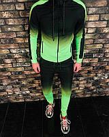 Спортивный костюм мужской черный ярко-зеленый градиент стильный турция