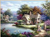 Картина для рисования камнями стразами Diamond painting Алмазная вышивка алмазами пейзаж дом у реки
