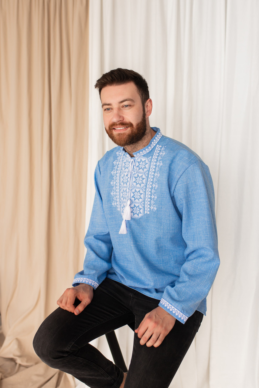 """Рубашки мужские с вышивкой """"Звезда"""""""