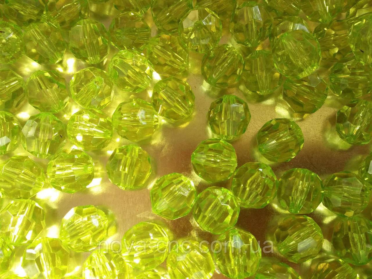 """Намистини акрил """"гранатики"""" салатовий 10 мм 500 грам"""