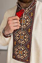 Мужская вышитая сорочка домотканые беж, фото 3