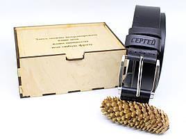 Кожаный ремень с гравировкой в деревянной коробке BT-41