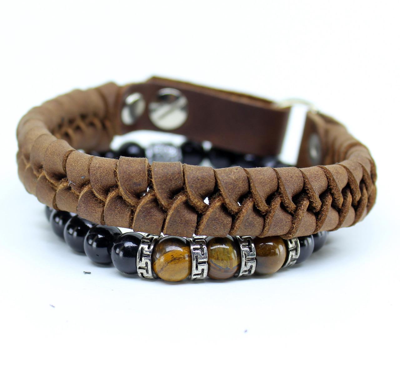 Набор браслетов из натуральной кожи S7