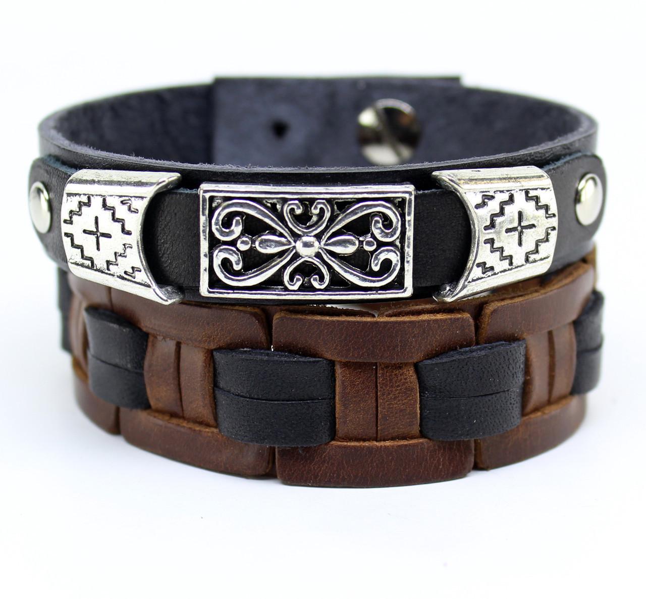 Набор браслетов из натуральной кожи S9