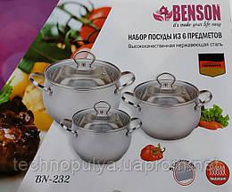 Набор нержавеющих кастрюль6 предметов - Benson BN-232
