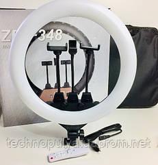 Кольцевой свет UKC лампа светодиодная с тремя гибкими держателями пультом ДУ и сумкой USB 220V 45см