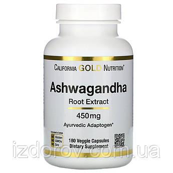 California Gold Nutrition, Ашвагандха, 450 мг, 180 рослинних капсул