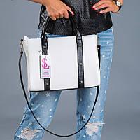 Белая женская сумочка черные вставки №1345wn3