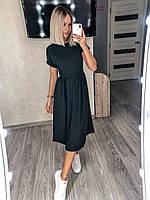 Женское красивое летнее модное платье миди свободного кроя легкое с короткими рукавами Норма и батал