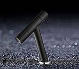 Одинважільний змішувач для умивальника кран горизонтальний монтаж WanFan для ванни Чорний, фото 8